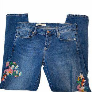 ANTHRO PILCRO Floral Embroidered Boyfriend Jeans